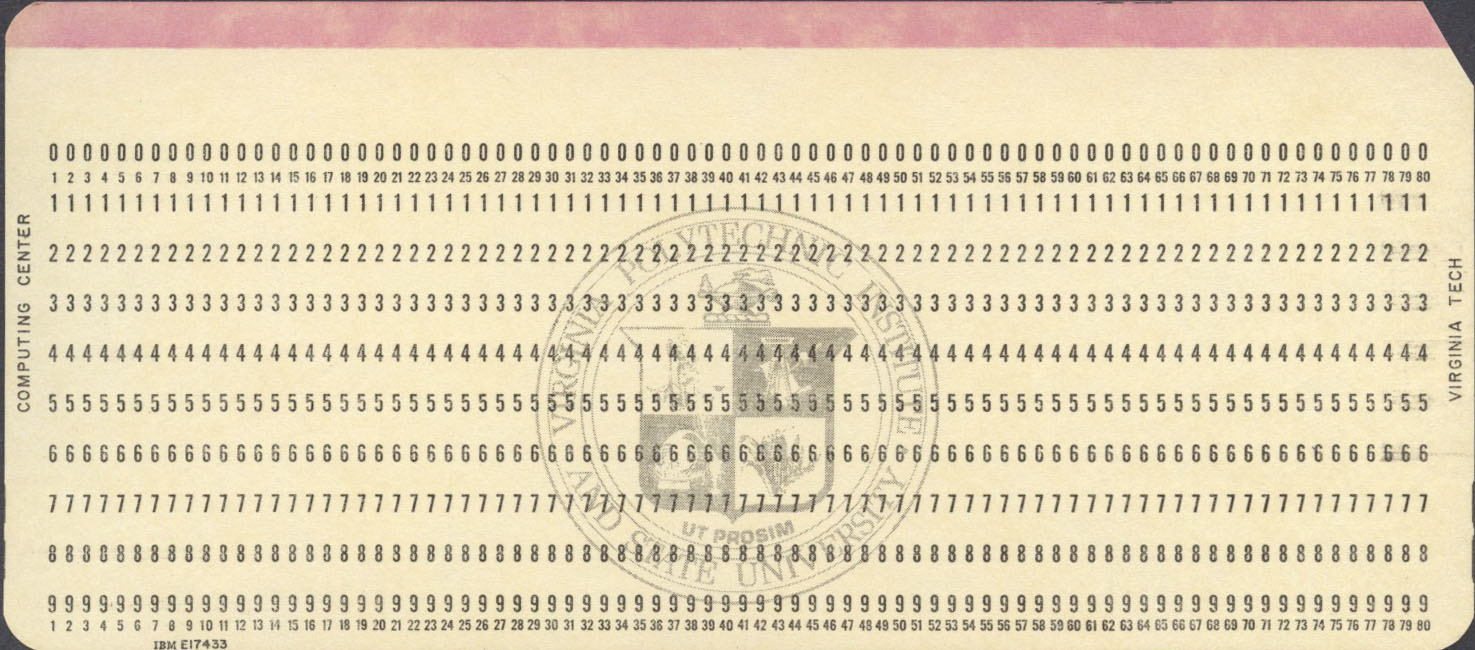 A collection of punched cards ibm e17433 general purpose card for virginia polytechnic institute and state university virginia tech colourmoves